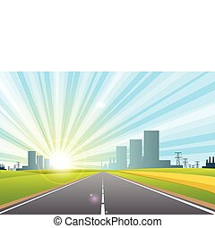 road in city - illustration, long road in city under blue...