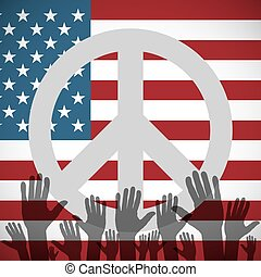 Illustration long USA flag icon with peace sign