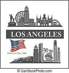 illustration., los, détaillé, usa, flag., ville, silhouette, horizon, angeles, vecteur