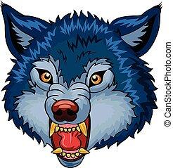 illustration, loup, dessin animé, fâché
