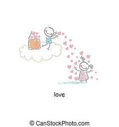 illustration., lovers.