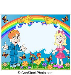 lucky children on background of the rainbow
