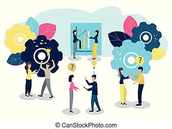 illustration., ludzie, goal., praca, osiągać, wektor, drużyna