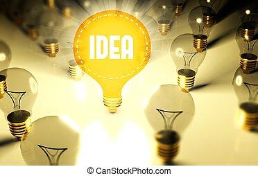 illustration, lumière, concept, idée, ampoules