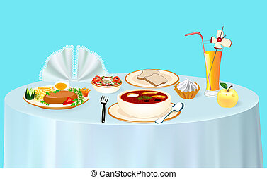 illustration lunch on the table chicken soup and juice with dessert and Apple