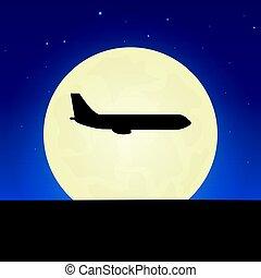 illustration., lune, arrière-plan., vecteur, nuit, avion, silhouette., bannière
