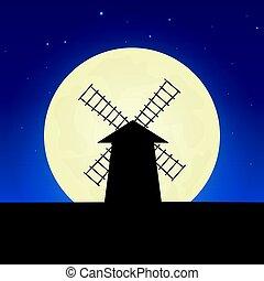 illustration., lune, arrière-plan., vecteur, nuit, moulin, silhouette., bannière
