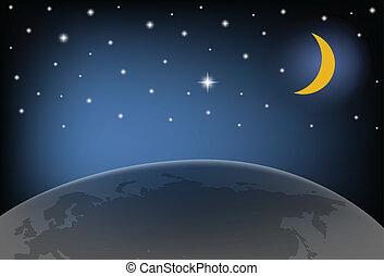 illustration., lune, ciel, stars., vecteur, nuit, briller