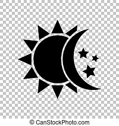 illustration., lune, signe., arrière-plan., étoiles, noir, soleil, transparent, icône