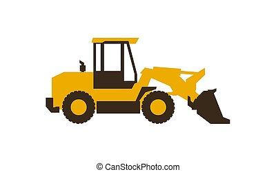 illustration., lustroso, machinery., loader., vetorial, frente, construção, style., ícone
