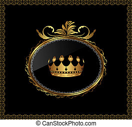 gold ornament with crown on black background