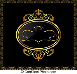 luxury gold ornament with emblem