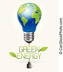 illustration., lys, energi, facon, vektor, grønne, pære, begrebsmæssig, klode verden, design.