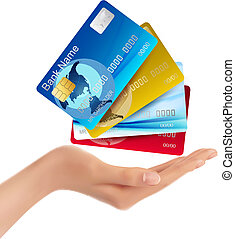 illustration., mão, crédito, vetorial, segurando, cartões.
