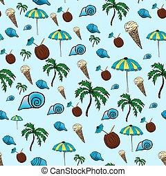 illustration., mão., pattern., tropicais, vetorial, desenho