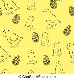 illustration., mão., pattern., vetorial, páscoa, desenho