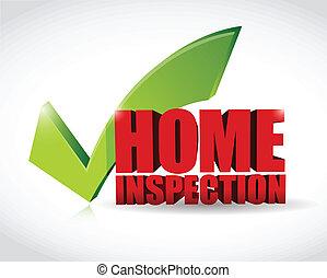 illustration, märke, godkännande, hem, inspektion, kontroll
