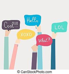 illustration., média, social, words., vecteur, parole, tenant mains, bulles