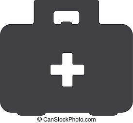 illustration médicale, kit, arrière-plan., vecteur, noir, blanc, icône