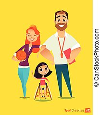 illustration., médico, joven, discapacitada / discapacitado, sportsmen's., entrenamiento, vector, handisport., rehabilitation., kids.