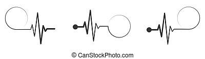 illustration., médico, vector, icon., latido del corazón