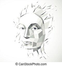 illustration, métaphore, tête, vecteur, séparément, gris, intelligence, moderne, imagination., poly, figure, idées, exploser, portrait., bas, éclats, technologique, automne, personnalité, pensées, 3d