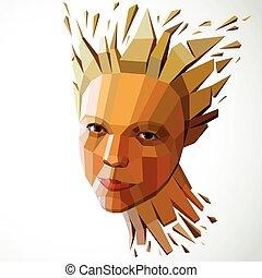illustration, métaphore, tête, vecteur, séparément, intelligence, moderne, imagination., poly, figure, idées, exploser, portrait., bas, éclats, technologique, automne, personnalité, pensées, 3d