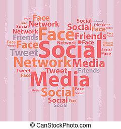 illustration., mídia, concept., tipografia, vetorial, texto, wordcloud., social, cloud.