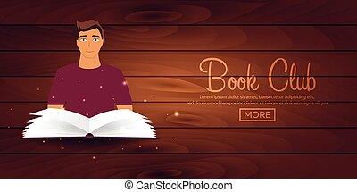 illustration., místico, light., club., brillante, vector, lectura, libro abierto