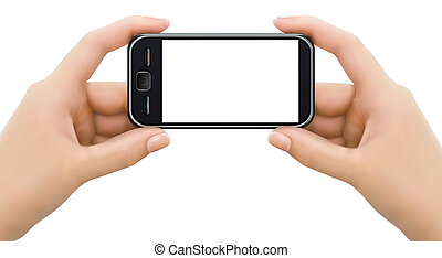 illustration., móvil, manos, screen., dos, teléfono, vector...