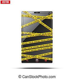 illustration., móvil, smartphone, teléfono, vector, cinta, wrapped., advertencia