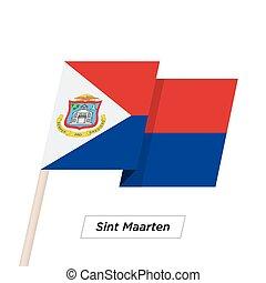 illustration., maarten, sint, 隔離された, 揺れている旗, ベクトル, white., シャープ, リボン