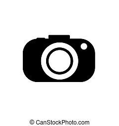 illustration., macchina fotografica, fondo., vettore, nero, bianco, icona