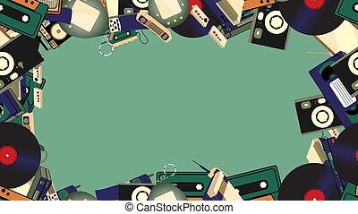 illustration, magnétoscope, vieux, enregistreur, téléphones, tv, mobile, appareil photo, cadre, console, joueur, arrière-plan., jeu, vecteur, hipster, retro, computer., électronique, cassettes, audio, bande