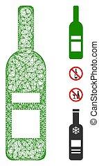 illustration, maille, toile, bouteille vin, vecteur