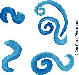 illustration, main, aquarelle, vecteur, dessiné, waves.