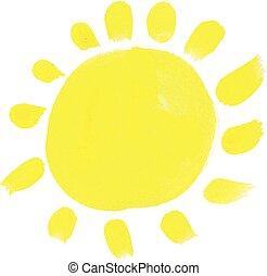 illustration, main, aquarelle, vecteur, sun., dessiné