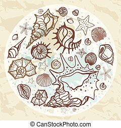illustration, main, arrière-plan., vecteur, mer, dessiné