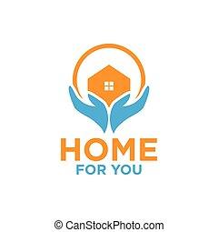 illustration, main, conception, gabarit, maison, logo
