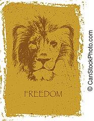 illustration, main, lion, vecteur, head., drawn.
