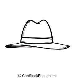 illustration, main, vecteur, dessiné, chapeau, icône