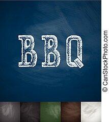 illustration, main, vecteur, dessiné, icon., barbecue