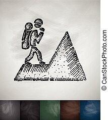 illustration, main, vecteur, dessiné, icon., grimpeur