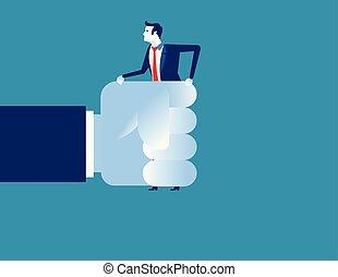 illustration., main., vecteur, grand, homme affaires, concept, business