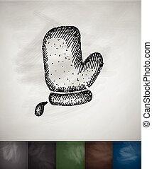 illustration, main, vecteur, potholder, dessiné, icon.