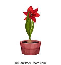 illustration, maison, fleur, rouges, vecteur, pot usine, croissant