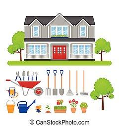 illustration., maison, set., vecteur, extérieur, outils, jardin