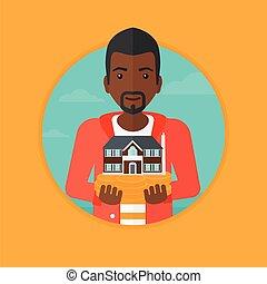 illustration., maison, vecteur, tenue, modèle, homme