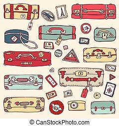 illustration., malas, vindima, set., vetorial, viagem