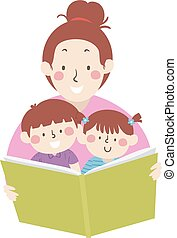 illustration, maman, lire, livre, art conter, gosses